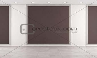 Brown room with closed doors