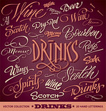 DRINKS menu headlines set (vector)
