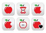 Red apple, apple core, bitten, half vector buttons