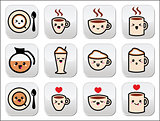 Cute coffee, cappuccino and espresso kawaii buttons set - vector
