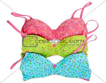 three color cotton bra