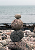 round stones on the beach