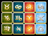 Colorful icon set of zodiac signs