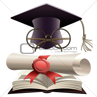 Bachelor hat with glasses and diploma