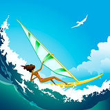 wind surfer girl ride on the ocean wave