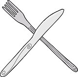 Isolated Knife and Fork