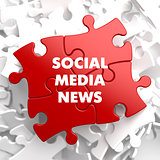Social Media News on Red Puzzle.