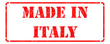 Made in Italy on Red Rubber Stamp.