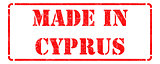 Made in Cyprus on Red Rubber Stamp.