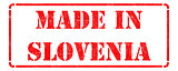 Made in Slovenia on Red Rubber Stamp.