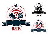 Darts sports emblems with banners