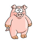 Fat happy pink cartoon pig