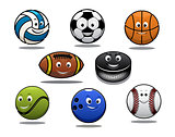 Set of cartoon sports balls equipment