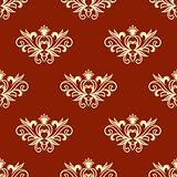 Yellow floral seamless pattern with red background