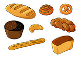 Assorted fresh cartoon bakery set