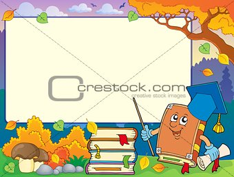 Autumn frame with book teacher 1