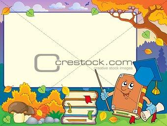 Autumn frame with book teacher 1