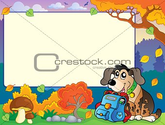 Autumn frame with dog and schoolbag