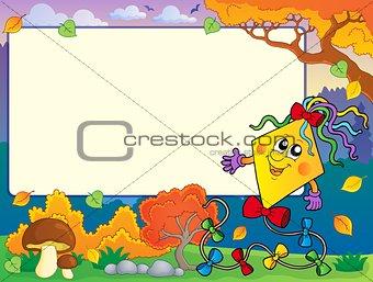 Autumn frame with kite 2