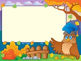 Autumn frame with owl teacher 2