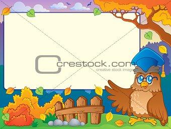 Autumn frame with owl teacher 2
