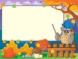 Autumn frame with owl teacher 3