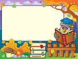 Autumn frame with owl teacher 4