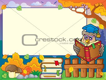 Autumn frame with owl teacher 4