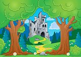 Tree theme with castle ruins