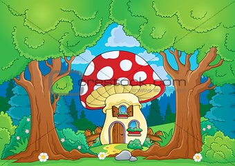 Tree theme with mushroom house