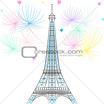 Vector Eiffel tower in Paris