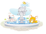 cute animals playing water