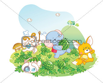 animals playing in the garden