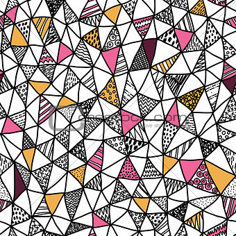 Abstract triangle seamless doodle pattern, vector illustration