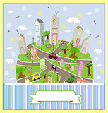 Spring sunny town. Vector illustration. art  cute