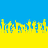 Vector hand with Ukraine flag