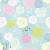 Seamless floral vector pattern with pink, yellow, green, white and blue retro roses on pastel blue background.