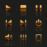 Set of golden media icons