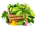 Fresh cucumbers in wooden box with green leaf and flower