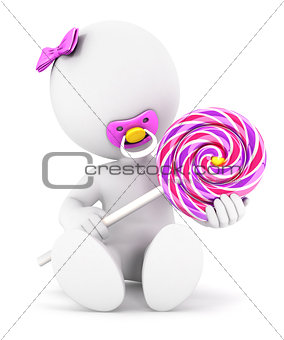 3d white people baby girl and a lollipop