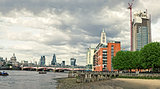 Skyline of City of London with Blackfriars Bridge