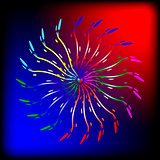 Abstract  brightly  glowing lines on the red and blue background
