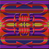 Graphic composition with  violet illumination on color backgroun
