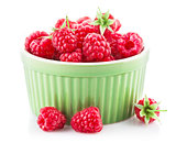 Fresh berry raspberry with green leaf