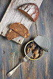 Snack - sprats and bread.