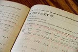 old tax records in book