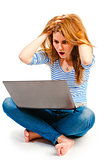 Surprised and frightened woman with a laptop