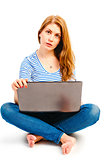 beautiful woman posing with a laptop