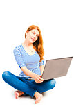 shooting girls with a laptop on a white background