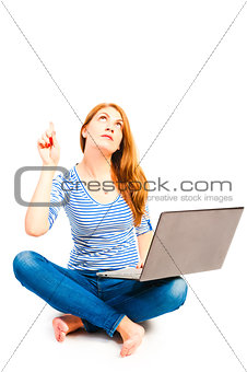 female 25 years old posing with a laptop